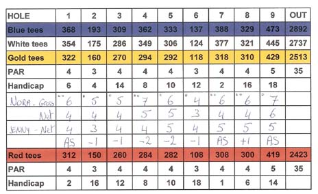 Golf score card for match play